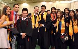 Students celebrate as they prepare for the Undergraduate Commencement Ceremony.