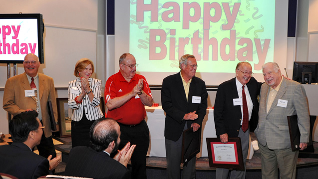 Lifelong Cougar Champions and birthday celebrations took center stage: Glenn Lilie ('68), Judie Lilie (BS '95), Willie Burns ('58), L.D. Daniels ('62), Bill Sherrill ('50) and Jack Stalsby ('49).
