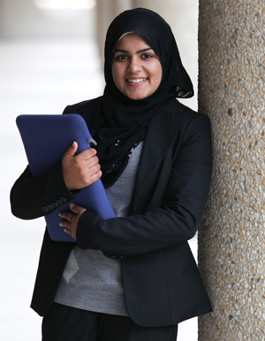 In her role as UH SGA Director of External Affairs, Mariam Zakaria works with other student government representatives in Texas and lobbies on behalf of public university students before the state legislature.