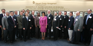 Energy Incubator.  UH President Renu Khator, center, joined Bauer College students, faculty, administration, and Sequent and AGL senior executives.  Pres. Khator shared updates on the university's commitment to energy research.