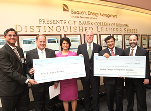 Prior to the DLS event, Sequent Energy presented Bauer College and the UH-Global Energy Management Institute with large checks for support of the college's energy programs.