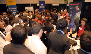 Bauer students filled two ballrooms in the UH Hilton Hotel during the Fall 2009 Business Career Fair, meeting with recruiters from more than 100 companies.