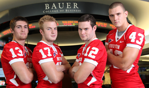 Bauer students Crawford Jones, Austin Elrod, Tim Mercer and Brian Smelek help power the Houston offense and defense.