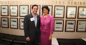 BCAA President David Flores (MBA '03), left, chatted with UH System Chancellor and UH President Renu Khator during a recent Distinguished Leaders Series event in Melcher Hall.