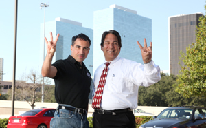 Marko Garcia ('97), left, and Jesse Chaluh ('81), both Bauer alumni, serve huge customer bases with locations in Greenway Plaza.