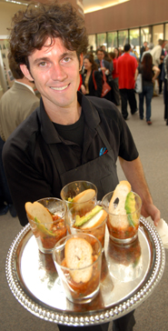 Houston restaurateur Brooks Bassler ('02) dishes out tasty food and entrepreneurial skills at the June groundbreaking event for Michael J. Cemo Hall.