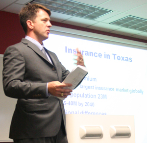 Texas Insurance Commissioner Mike Geeslin talked to finance students in October about pursuing a career in the insurance industry.