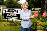 B.J. Yewens and husband Harry sold their golf course in 2005 and opened Fulshear Flower and Garden Shoppe. She says most of the business involves hard manual labor.