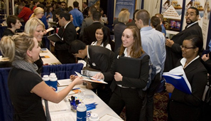 Rockwell Career Center's Spring Career Fair drew large crowds and hundreds of recruiters.