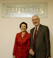 Cyvia and Melvyn Wolff celebrate the naming of the Cyvia and Melvyn Wolff Center for Entrepreneurship.