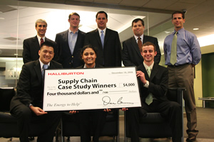 Members of the winning team (seated), including Stanford Huynh, Depinder Gill, and Sean McFarlin, celebrated with Halliburton representatives and Assistant Professor Jamison Day. Team member Syed Ali is not pictured.