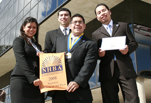 Officers from the Hispanic Business Student Association celebrate after being named Chapter of the Year at the annual National Hispanic Business Association Leadership Conference for the first time since 2002.