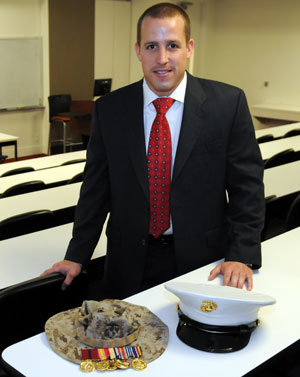 After returning from two tours in Iraq, U.S. Marine Corps Sgt. Jason Evans came to UH Bauer College to pursue a degree in marketing and entrepreneurship. He will graduate in May.