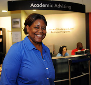 Advising assistant Joyce Williams can help incoming or prospective students who are veterans navigate the paperwork required for admission.