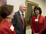 New University of Houston President Renu Khator(right) chats with Cyvia and Melvyn Wolff.