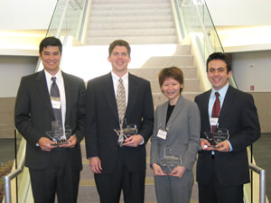 John Keeton, Joe Corkin, Quyen Nguyen and Mauricio Franco are the best CFA student stock analysis team in the country and third in the world.