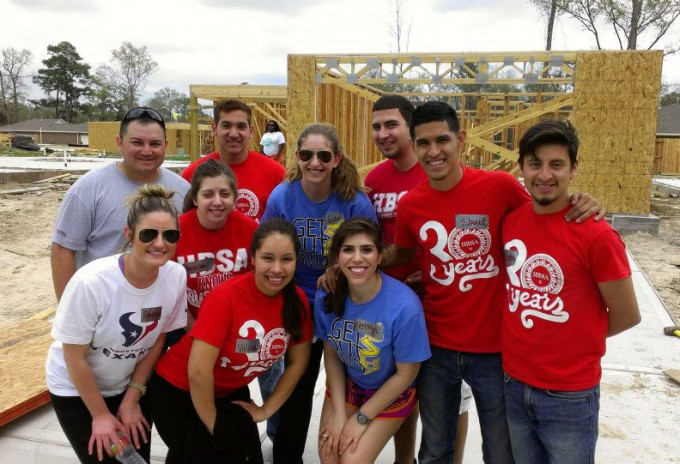 The Hispanic Business Student Association (HBSA) at the C. T. Bauer College of Business at the University of Houston hosts many outreach programs throughout the semester to promote business leadership skills and to give back to the community. Pictured, representatives from the organization during a recent Habitat for Humanity event.