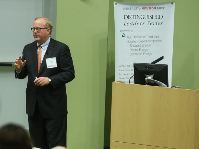 Buckeye GP CEO Clark Smith spoke to students and the Houston Business Community during the February Distinguished Leaders Series event.