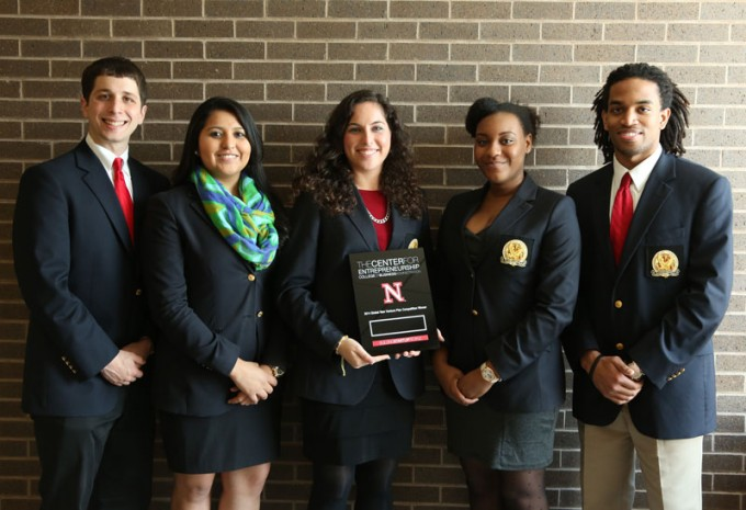 Bauer students (from left) Jonathan Cohen-Kurzrock, Brenda Rojo, Noy Shemer, Rowbin Hickman and Jonathan Brown from the college's Wolff Center for Entrepreneurship won grand prize at the University of Nebraska-Lincoln New Venture Competition.