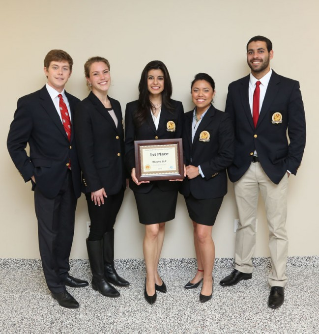 Wolff Center for Entrepreneurship students Sergey Petrov, Julia Lonnegren, Valeria Bernadac, Ivette Rubio and Eric Beydoun bested teams from across the nation during the Global Student Business Plan Competition at the College of the Bahamas.