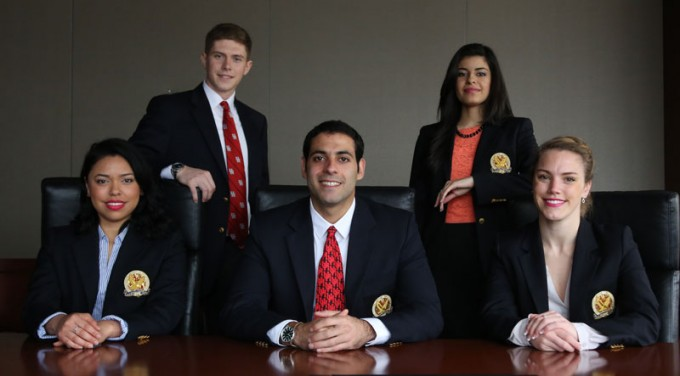 Bauer student team WAVVE, inlcuding (from left) Ivette Rubio, Sergey Petrov, Eric Beydoun, Valeria Bernadac and Julia Lonnegren, competed against graduate teams from UCLA, USC and Yale in the Rice Business Plan Competition and brought home the Wells Fargo Clean Tech prize.