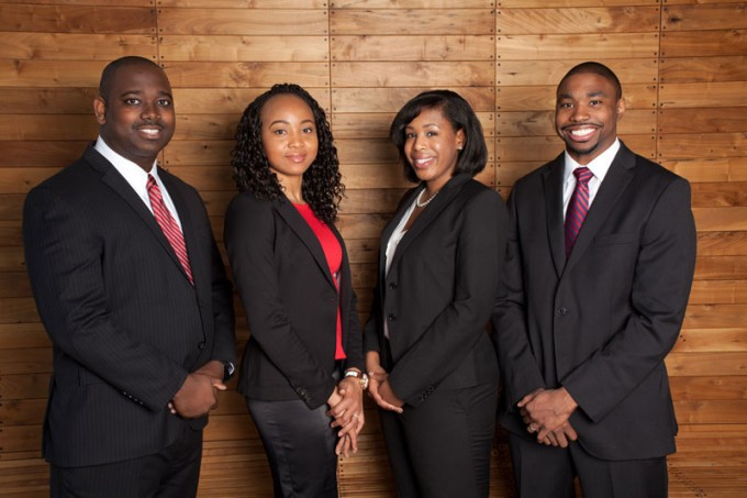 Bauer MBA students (from left) Rudolph Pierson, Eberechi Adieze, Rachel Flye and Larry Hay will compete on May 2 for up to $35,000 in scholarships in the final round of the Executive Leadership Foundation's 2014 Business Case Competition.