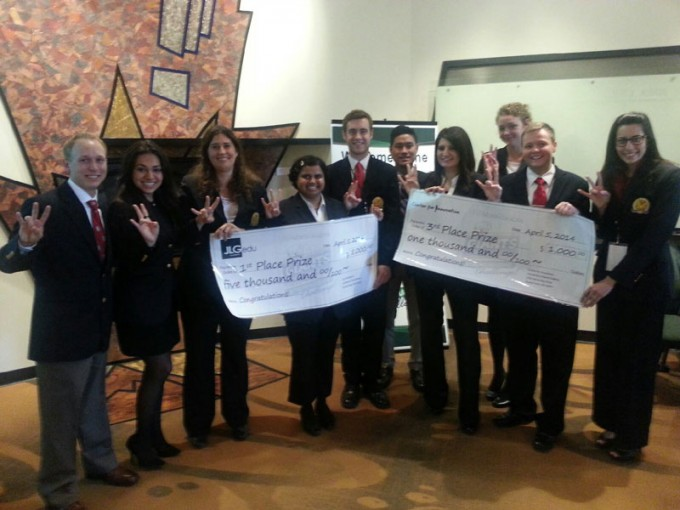 Bauer student teams placed first and third during the Giants Entrepreneurship Challenge at the University of North Dakota. (From left) CARA team members include Corbin Bradford, Alicia Ramirez, Karey Gallagher, Rashmi Bhatt and Jacob Hines, and Oxiginne, LLC members Tim Arnaez, Paula Musa, Ariana Thrasher, Chris Wick and Aliki Thanos.