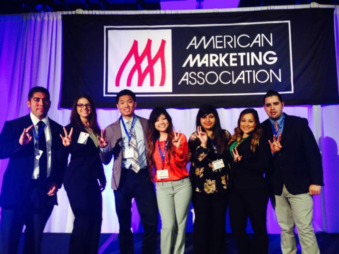Students (from left) Herbert Murcia, Lauren Schlanser, Doan Nguyen, Jennifer Le, Nourhan Abdelhamid, Sunita Dharani, Ashly Collins and Edgar Jimeneze from the University of Houston chapter of the American Marketing Association were recently awarded the Excellence in Chapter Planning Award at the 36th annual American Marketing Association International Collegiate Conference.