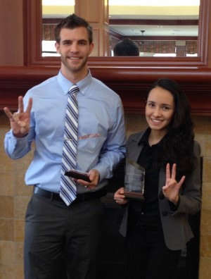 MS Accountancy student Justin Neumann (left) and accounting junior Valeria Montalvo (right) from the C. T. Bauer College of Business at the University of Houston, placed first and fourth respectively during the ConocoPhillips Accounting Challenge.
