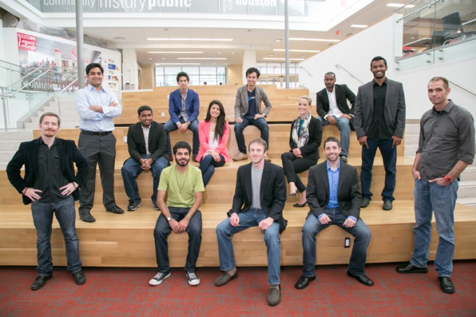 Student entrepreneurs from University of Houston's RED Labs accelerator will pitch their concepts to startup community members at the inaugural Bayou Startup Showcase event, held in partnership with Rice University's OwlSpark accelerator on Aug. 14. Front row (from left): Travis Arnold, Rakshak Talwar, Andrew Paterson, Gabe Hodges and Joshua Wathen.  Middle row (from left): Daniyal Inamullah, Micah Thomas, Valeria Bernadac, Julia Loennegren and Bala Raja. Top row (from left): Tom Huynh, Tri Nguyen and Gavin Garvey.