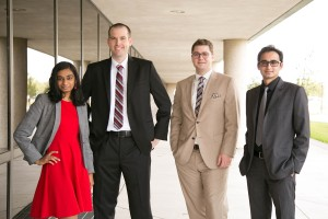 Bauer MBA students (from left) Varuniya Pushparajan, Randall Miller, Charles Shelton and Saket Maheshwari placed 3rd in the Social Impact Awards as part of the annual Google Online Marketing Challenge for their work with Space Center Houston.