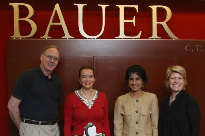 Bauer alumna Mila Golovine, second from left, has established a scholarship for students in the college's Wolff Center for Entrepreneurship. Here, she visits with the college's chair of the Department of Marketing & Entrepreneurship Ed Blair, Dean Latha Ramchand and Assistant Vice President of Development Maya Houston.