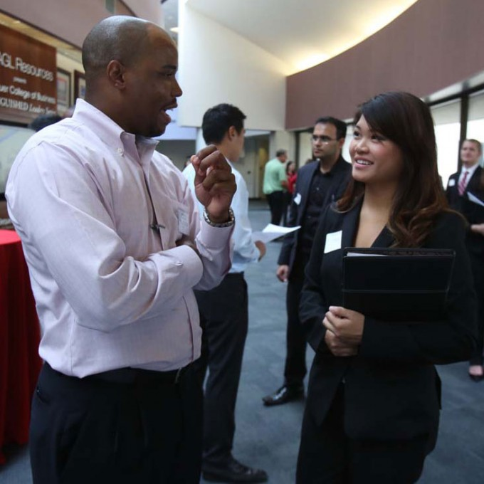 Nineteen employers who hire supply chain managers met with Bauer students during the first-ever Bauer Supply Chain Student Association career mixer in August.