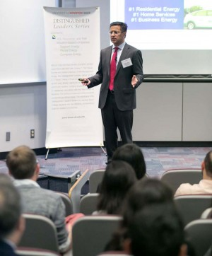 Direct Energy President and CEO Badar Khan addresses the Bauer College community during the Oct. 23 Distinguished Leaders Series event. See more photos.