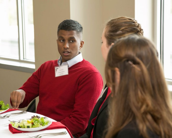 Students in the C. T. Bauer College of Business at the University of Houston Professional Program in Accountancy (PPA) learned proper business etiquette during a weekly luncheon class to help better communicate with employers and clients.