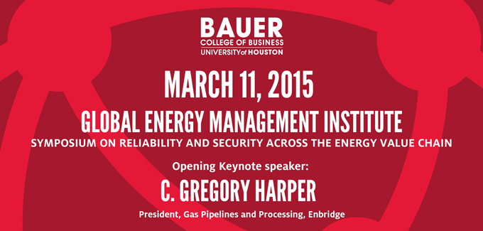 The C. T. Bauer College of Business Global Energy Management Institute will host a symposium on March 11, focusing on the energy value chain, discussing urgent issues facing energy markets today.