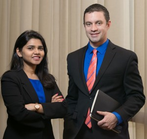 MBAs Preeti Singh (left) and Matt Avery (right) from the C. T. Bauer College of Business at the University of Houston are semifinalists in the Capgemini Innovators Race with their team Bauer Power.