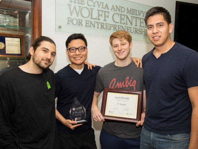Entrepreneurship students Nick Ravanbakhsh, Kevin Cho, Dylan Senter and Ody De La Paz, placed first, and received a $10,000 prize for Sensytec, a cement technology that monitors various properties of cement structures in real time, during the San Diego State University's Lean Plan Competition.