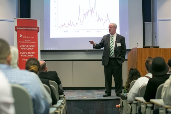 "Waterside Energy Director Terry McGill presented ""Here We Go Again,"" a discussion on the volatility of the oil and gas industry, during the March 23 event sponsored by AGL Resources and their Houston-based companies."