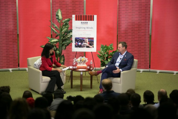 UH Football Coach Tom Herman sat down with Bauer College Dean Latha Ramchand for a discussion on leadership, during the Inspiring Minds Lecture Series. See more photos and a video of the event on WhereAwesomeHappens.com.