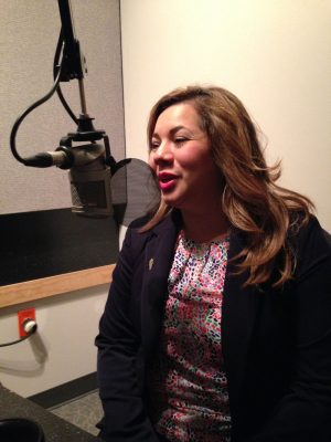 Whitney Bank Loan Officer Veronica Martinez speaks on Bauer Business Focus. Photo courtesy Houston Public Media.