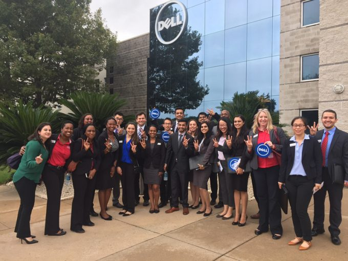 A group of MBA students from the C. T. Bauer College of Business at the University of Houston took a trip to Austin to get a firsthand look at three Fortune 500 companies. The trip was organized by the college's Rockwell Career Center, a dedicated career service center for Bauer students.